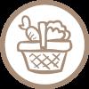 icona raccolta di erbe e frutti spontanei